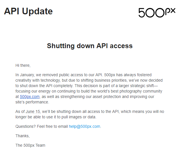 500px is shutting down its API access - NextScripts